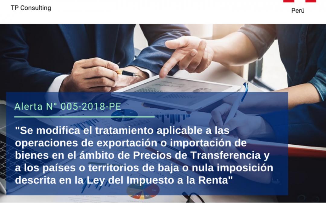 Alerta sobre Precios de Transferencia en Perú N° 005-2018-PER.