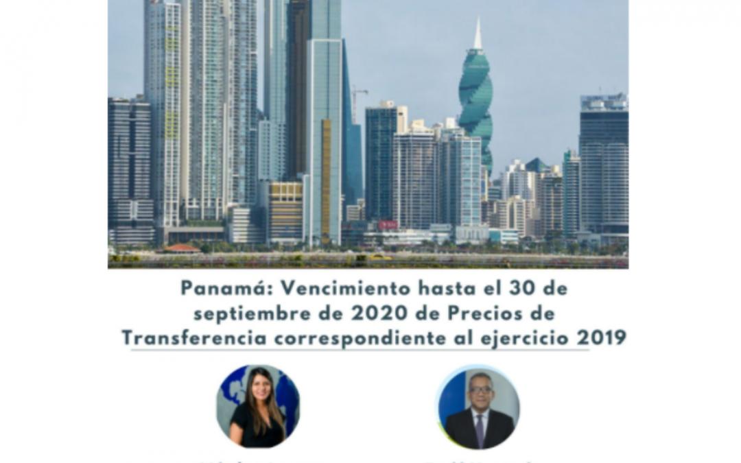 Webinar: Panamá: Vencimiento hasta el 30 de septiembre de 2020 de Precios de Transferencia correspondiente al ejercicio 2019.