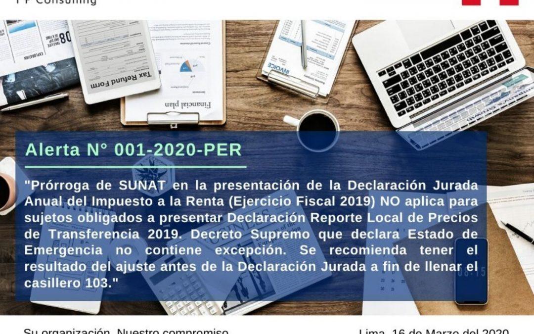 Alerta sobre Precios de Transferencia en Perú N° 001-2020-PER.