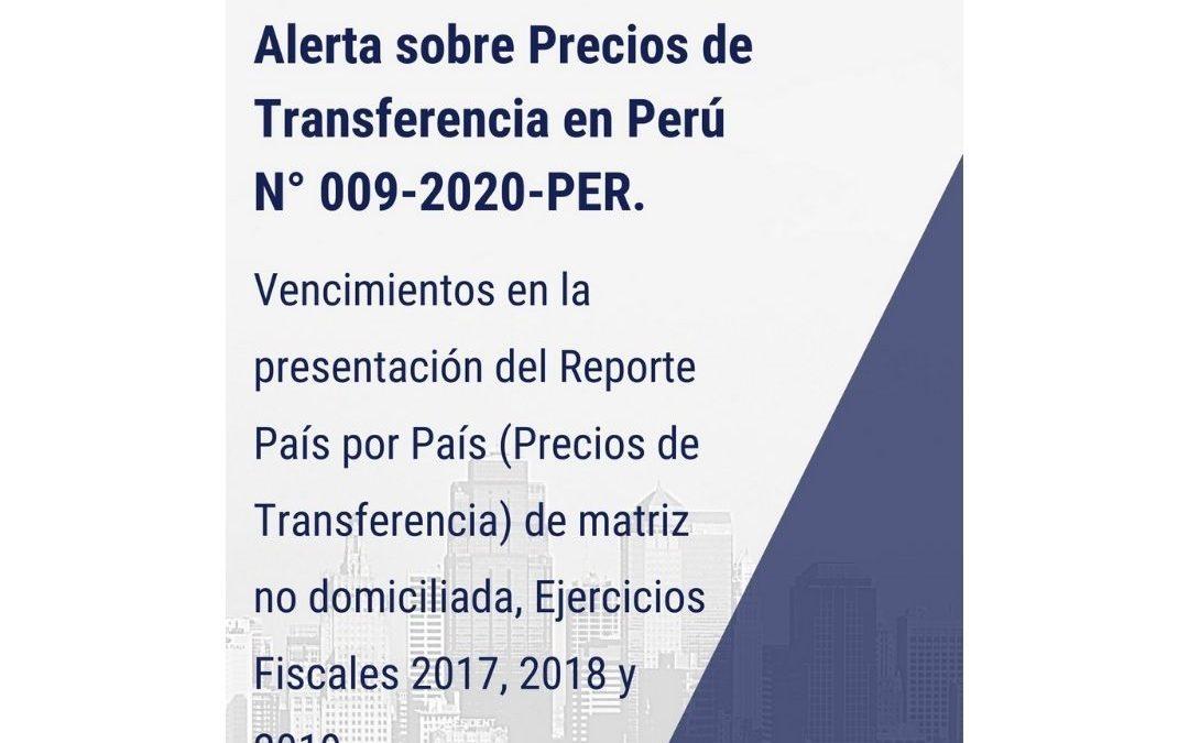 Alerta sobre Precios de Transferencia en Perú N° 009-2020-PER.