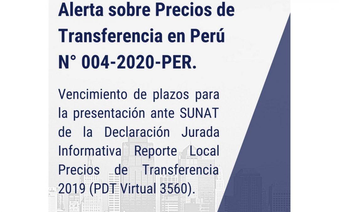 Alerta sobre Precios de Transferencia en Perú N° 004-2020-PER.