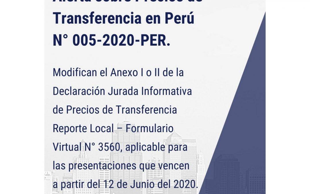 Alerta sobre Precios de Transferencia en Perú N° 005-2020-PER.