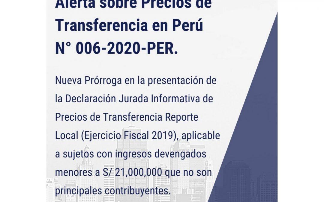 Alerta sobre Precios de Transferencia en Perú N° 006-2020-PER.