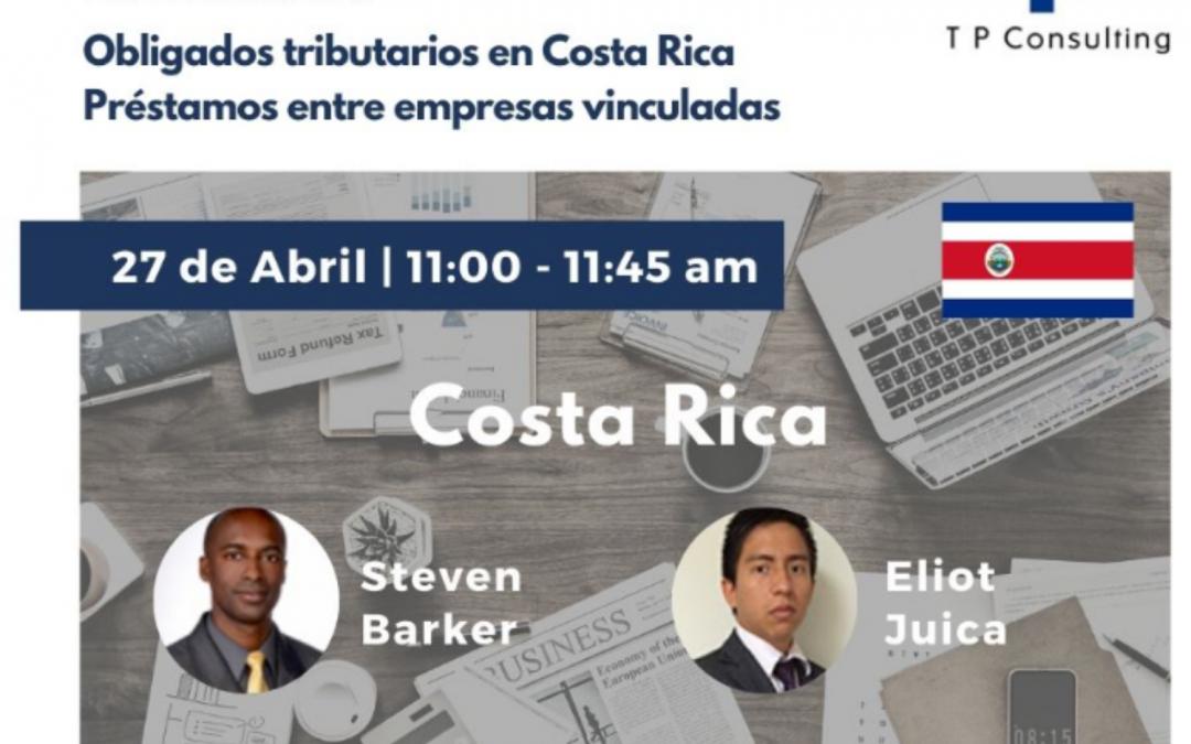 WEBINAR: «Obligados Tributarios en Costa Rica / Préstamos en Empresas Vinculadas»