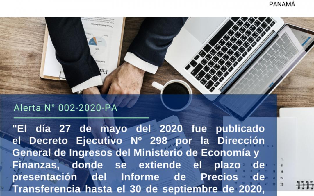 Alerta N° 002-2020-PA |  Extensión de fecha de presentación del Informe de Precios de Transferencia.