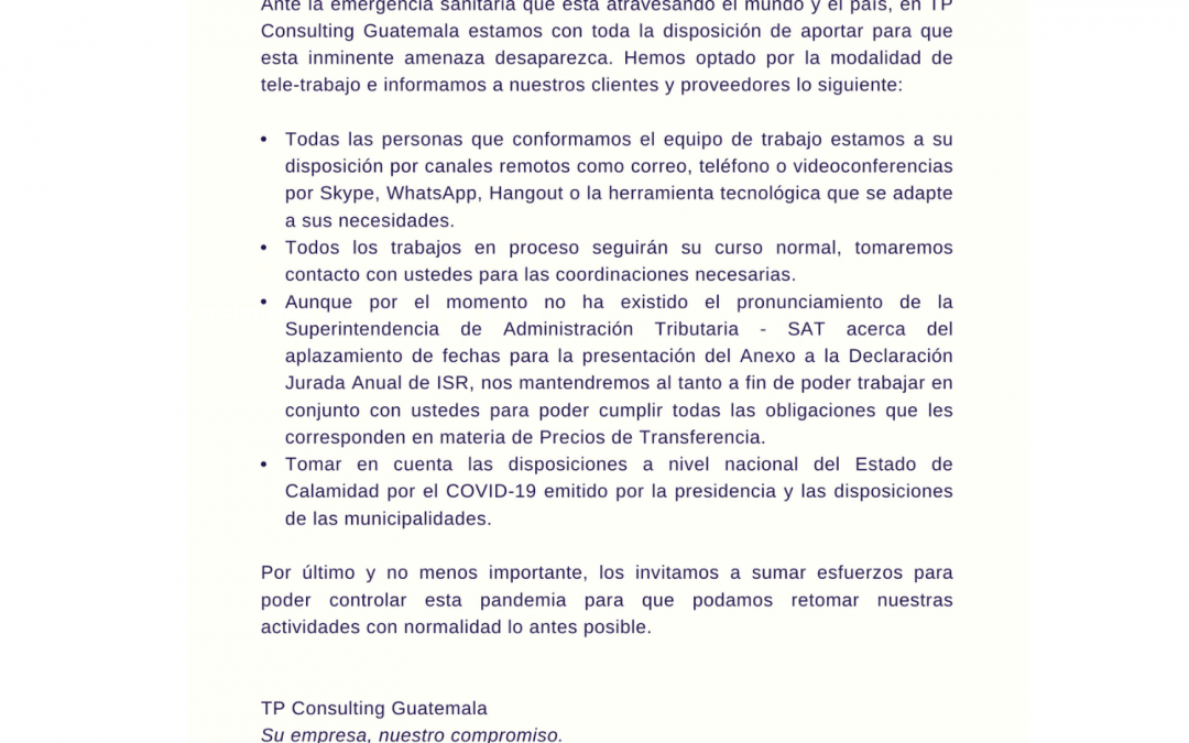 Comunicado de Trabajo ante la Pandemia del COVID-19 en GUATEMALA