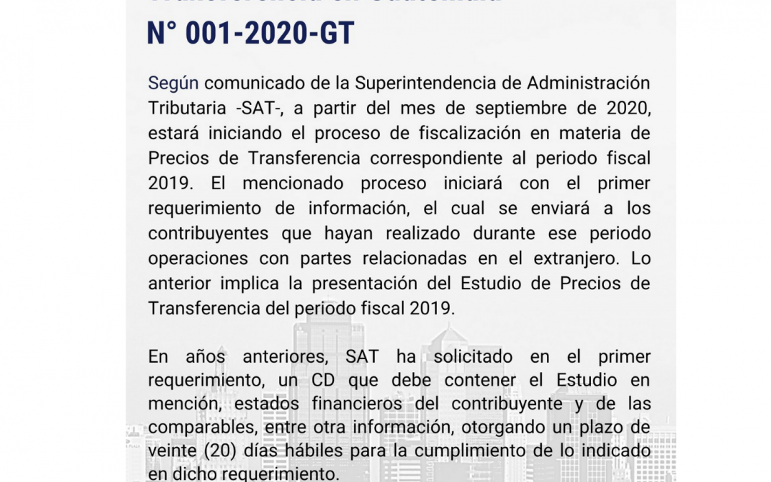 Alert No. 001-2020-GT | SAT announces that it will begin with the inspection process regarding Transfer Pricing