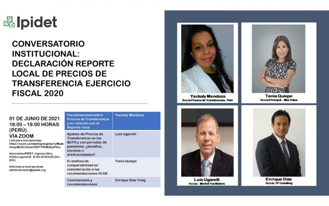 IPIDET | Conversatorio Institucional «Declaración Reporte Local de Precios de Transferencia Ejercicio Fiscal 2020»