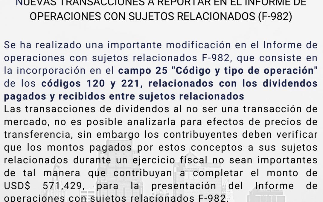 Dividendos pagados y recibidos (F-982)