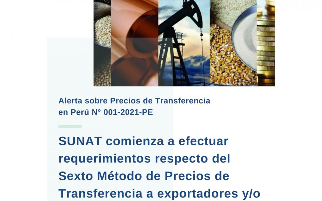Alerta sobre Precios de Transferencia en Perú N° 001-2021-PE